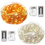 2 Sets Fairy String Lights 16.5FT Copper Wire Battery Operated Twinkling 50 LED String Lights Waterproof Firefly Lights with 8 Modes Remote Controller Box for Indoor Outdoor Party Festival Decor