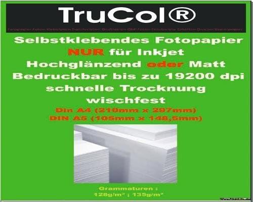 50 Blatt A4 selbstklebendes FOTOPAPIER MATT Etiketten DIN A4 für Tintenstrahldrucker 210 x 297mm 128g/m²