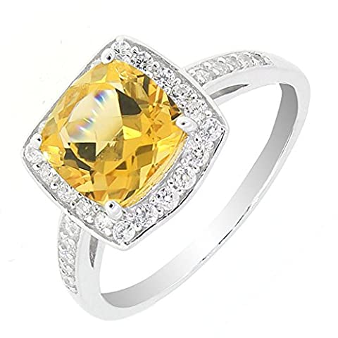 Vintage Style Sterling Silver Cushion Cut Genuine Citrine Halo Ring size 6 (2 CT.T.W) - Vintage Sterling Silver Gemstone Ring