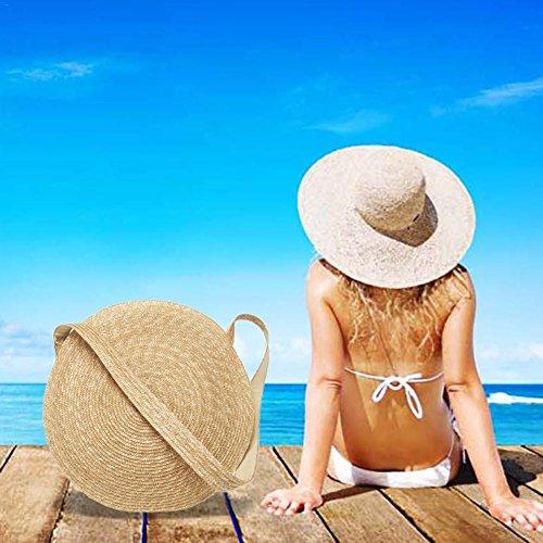 Circular Outdoor Straw Beach Travel Summer Shoulder Woven Bag Bag Sling Bag Dual Crossbody Purpose Bag fIwgx1qtnZ