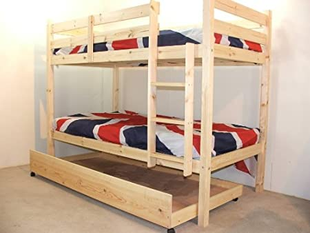 3ft Single Wooden Pine Bunk Bed With Storage Underdrawer Heavy Duty