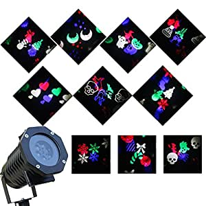 Halloween Decorations Projector LED Lights Waterproof Landscape Projection LED Light with 10 Switchable Patterns for Christmas Auto Rotating Projection LED Snowflake spotlight (Mulit-Color))