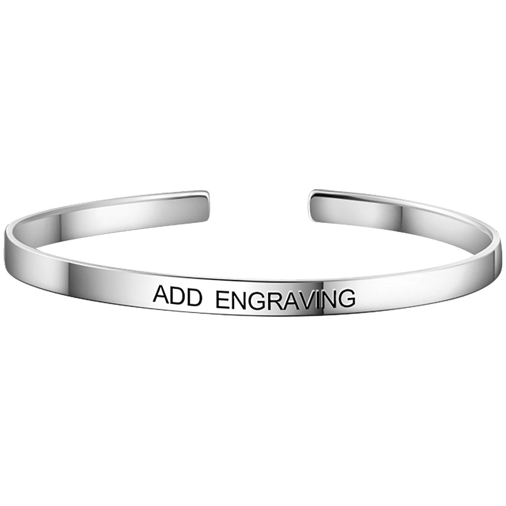 SOUFEEL Personalized Bangle Bracelets Engraved with Letters Sterling Silver Bracelets Customized Bangles