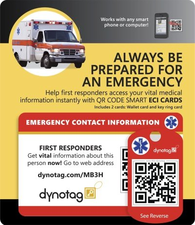 Dynotag Web/GPS Enabled QR Code Smart Medical and Emergency Contact Information Card Kit - Wallet & Keychain cards