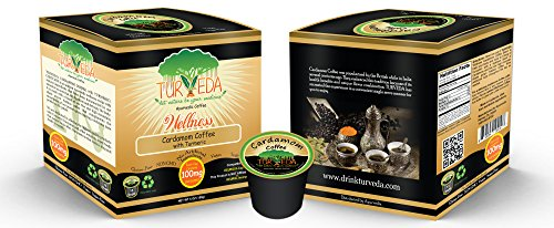 TURVEDA Golden Turmeric Coffee, Cardamom Turmeric/Curcumin Arabica Blend, Keurig K-Cup Brewers, 95% Curcumin Supplement For Cardiovascular Support & Healthy Aging, 100% Natural,15 Single Serve Cups - incensecentral.us