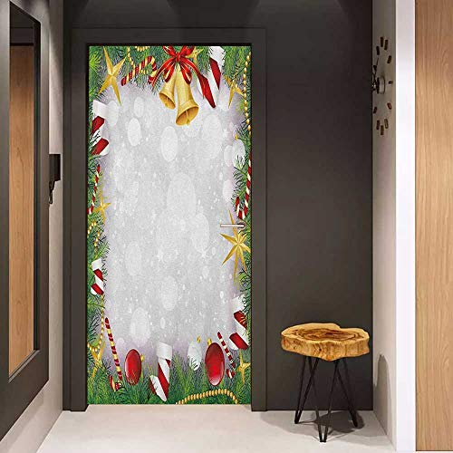 Onefzc Automatic Door Sticker Christmas Xmas Eve Carol Theme Frame Pine Spikes Candy Jingle Hand Bells and Ribbon Image Easy-to-Clean, Durable W17.1 x H78.7 Multicolor (The Diving Bell And The Butterfly Themes)