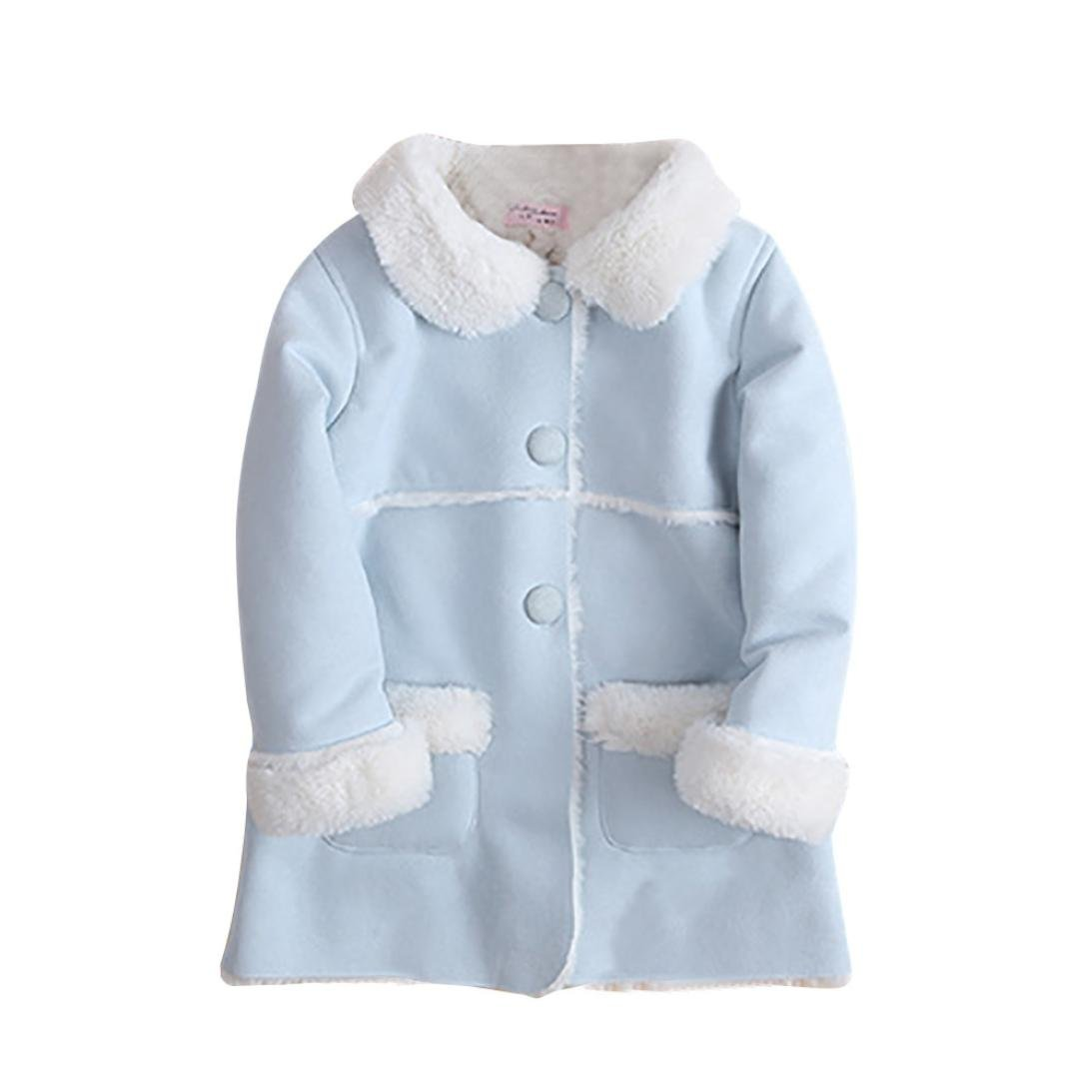 Franterd Baby Girls Winter Jacket Fur Collar Solid Warm Winter Thickening Fur Inside Coats (Blue, 3T) by Franterd (Image #6)