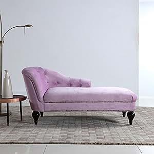 Divano roma furniture velvet chaise lounge blue kitchen dining - Blue velvet chaise lounge ...