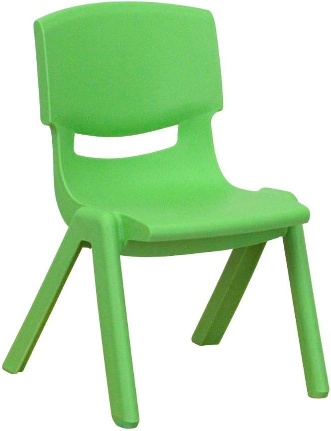 Flash Furniture Green Plastic Stackable School Chair with 10.5'' Seat Height: Furniture & Decor