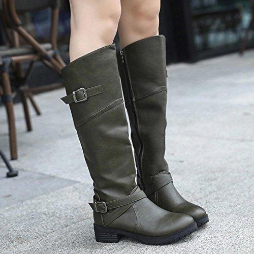 Sikye Femmes Slouchy Plat Genou Haute En Cuir Chevalier Boucle Bottes Garder Au Chaud Martin Chaussures Vert