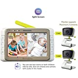 """MoonyBaby Split Screen, Wide Angle, Two Cameras System Video Baby Monitor with 5"""" LCD, Automatic Night Vision, Temperature Monitoring, Two Way Talkback (MANUALLY Rotated Camera)"""
