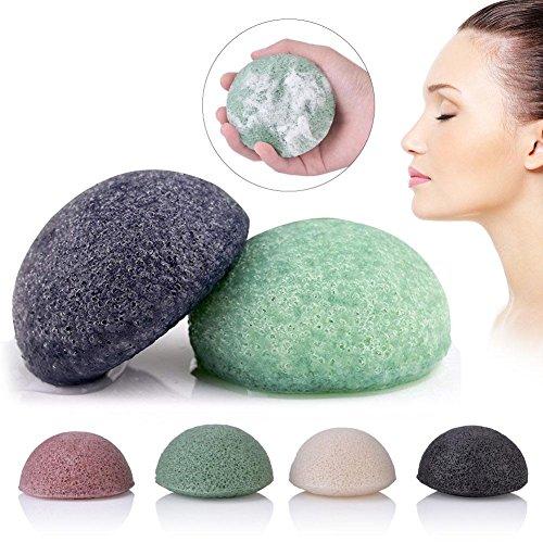 Esponja facial natural, lavado facial, limpieza, esponja, esponja, exfoliante, herramientas, con, carbón de leña natural,...