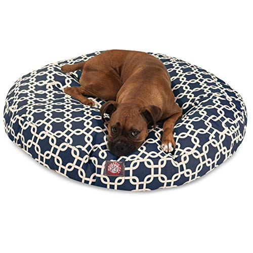 Navy Blue Links Large Round Indoor Outdoor Pet Dog Bed With Removable Washable Cover By Majestic Pet Products