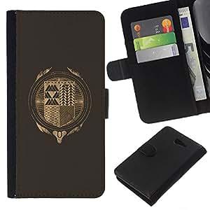 YiPhone /// Tirón de la caja Cartera de cuero con ranuras para tarjetas - Hipster Resumen - Sony Xperia M2