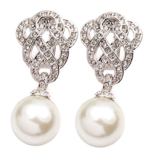 FC JORY Vintage White Gold Plated Crystal Pearl Drop Dangle Filigree Knot ()