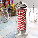 Glass Straw Dispenser by bar@drinkstuff | Drinking Straw Dispenser, Retro Straw Dispenser, Straw Holder, Straw Container, Vintage Straw Dispenser