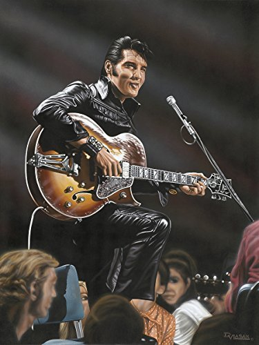 - Buyartforless Elvis in Leather by Darryl Vlasak 24x18 Painting Print on Wrapped Canvas Memorabilia Music Rock and Roll Legend. Made in The USA!