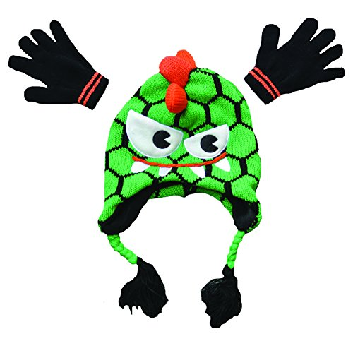 Hip Mohawk Beanies with Matching Gloves (Green and - Cardigan Polar