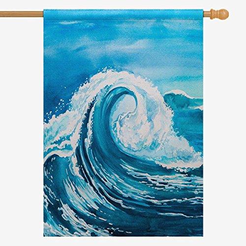 InterestPrint Watercolor Blue Sea Water Wave House Flag Hous