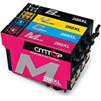 CMTOP 1Set Remanufactured 288 288XL Ink Cartridges High Yield, (1 Black, 1 Cyan, 1 Magenta, 1 Yellow) for Expression Home XP-330 XP-430 XP-440 XP-340 XP-434 XP-446 Printer
