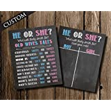 Gender Reveal Party Chalkboard Poster Sign Package by Katie Doodle - CUSTOMIZABLE