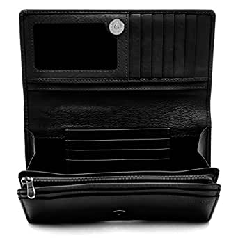 Genuine Leather Wallets For Women - Womens Accordion Organizer With Coin Purse & ID Window RFID Blocking