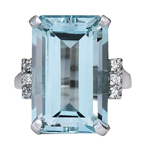 16.42 Carat Natural Blue Aquamarine and Diamond 14K White Gold Luxury Cocktail Ring for Women by Fashion Strada