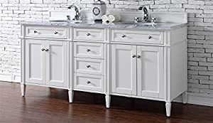 72 in. Double Vanity with 2 cm. Carrara White Marble Top delicate
