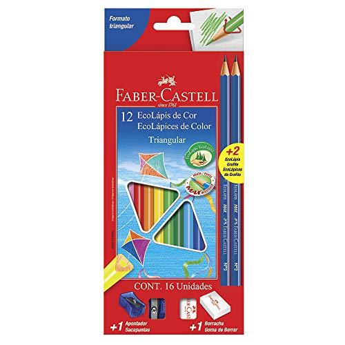 Kit Escolar Lápis de Cor Triangular, Faber-Castell, EcoLápis, 120512+2N, 12 Cores + 2 Grafite