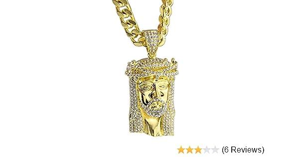 e324ce5e1df Jesus Piece Iced-Out Face Head 30 Inch x 10mm Cuban Link Chain Gold Tone  Heavy Hip Hop Necklace
