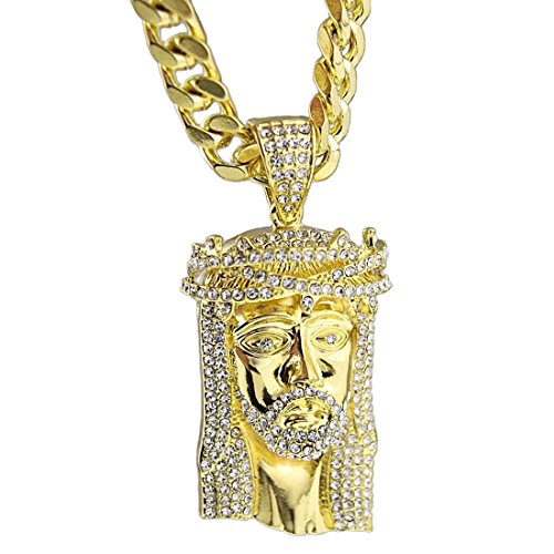 Jesus Piece Iced-Out Face Head 30 Inch x 10mm Cuban Link Chain Gold Tone Heavy Hip Hop ()
