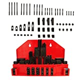 52 PC Clamping Kit T-Slot 5/8'' End Clamp Flange Coupling Nut Step Block Set