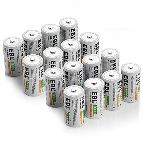 EBL D Cell 10,000mAh Rechargeable Batteries, 16 Packs by EBL