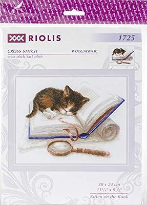 Riolis Kreuzstich-Set K/ätzchen Baumwolle 15 x 18 x 0.1 cm Mehrfarbig
