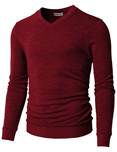 H2H Mens Basic Long Sleeve Cotton Ribbed Shaker V Neck Sweater RED US L/Asia XL (CMOSWL018)