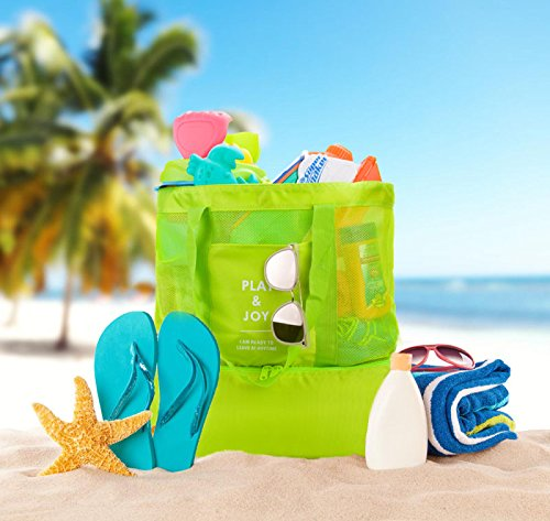 Lazyaunti Mesh Beach Totes Bag For Kids Toy Organizer Bag with Zipper Insulated Picnic Cooler Bag for Travel Shopping Pool Yoga Gym Bag