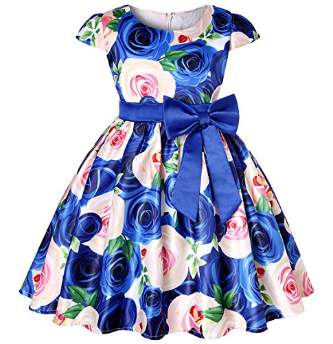 Little Girls A Line Dresses Kids Christmas Day Gorgeous Vintage Tea Floral Printed Dress (Blue02,110) -