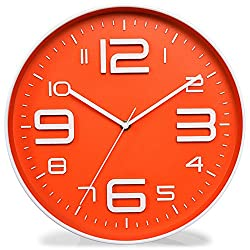 Kinger_Home Non-Ticking Silent Quartz Wall Clock with Big 3D Number Modern Design Quiet Sweep Movement Indoor Decorative for Living Room Kitchen Wall Clocks Battery Operated 10-Inch (Orange)