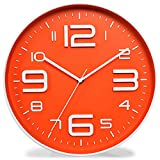 Kinger_Home Non-Ticking Silent Quartz Wall Clock Big 3D Number Modern Design Quiet Sweep Movement Indoor Decorative Living Room Kitchen Wall Clocks Battery Operated 10-Inch (Orange)
