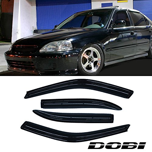 Violetlisa 4pcs front rear smoke sun rain guard vent shade for 2000 honda civic rear window visor