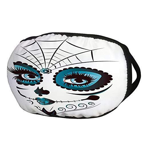 Fashion Cotton Antidust Face Mouth Mask,Skull,Graphic of Cute Dead Skull Teen Girl Face with Make Up and Ornate Design Print,Peacock White,for women & men -