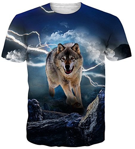 Belovecol Hip Hop Style 3D Print Wolf Tshirts Teens Short Sleeve Graphic Tees Blue S