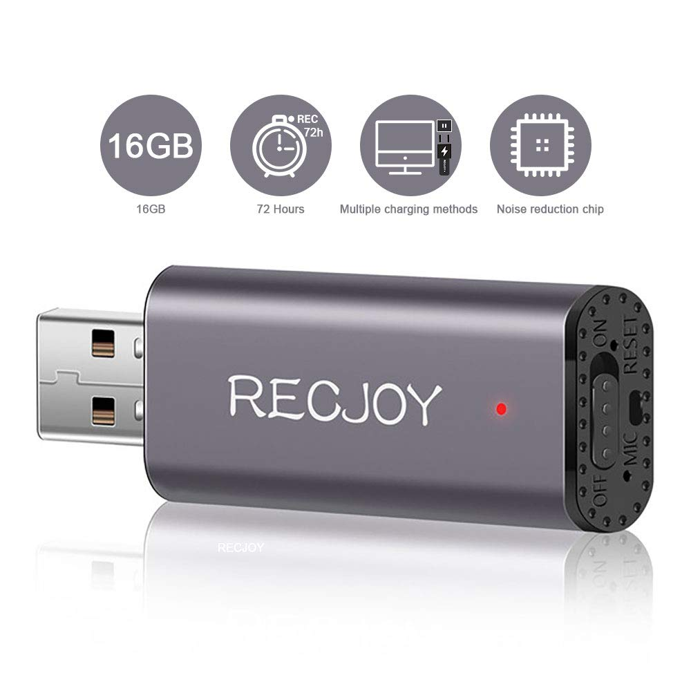 Mini Voice Recorder for Lectures Meetings RECJOY,16GB Digital Audio Recorder 72Hours Recording Device,Rechargeable,Metal Case