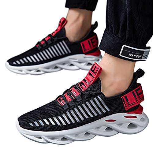 Price comparison product image TnaIolral Men Shoes Summer Hollow Mesh Breathable Non-Slip Wear-Resistant Sneakers (US:9.5,  Red)