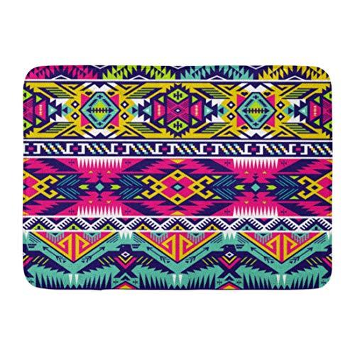 Eagles Geometric Rug - Koperororo Doormats Bath Rugs Outdoor/Indoor Door Mat Colorful Mexico Neon Colors Tribal Eagle Aztec Abstract Geometric Ethnic Hipster Mexican Bathroom Decor Rug 16
