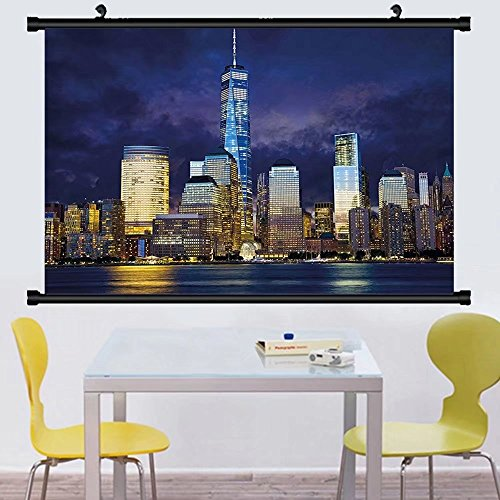 Gzhihine Wall Scroll Landscape New York Usa Manhattan Scenery Skyline Skyscrapers Ocean City Wiev mage Photo Wall Hanging Multicolor - Outlets West City Ocean