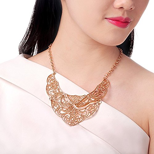 HONEYJOY Angel Wings Unique Irregularity Slimsy Necklace for Women Fashion Jewelry Black - Fasion Fair