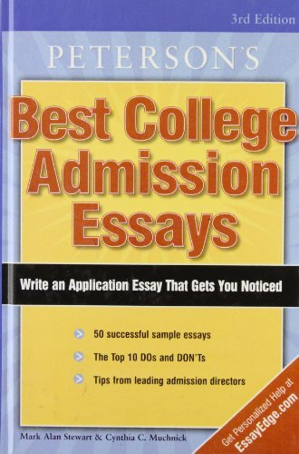 Peterson's Best College Admission Essays by Stewart Mark Alan Muchnick Cynthia C. (2008-05-29) Library Binding