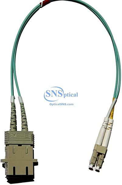 Male Multimode 50//125 Duplex 1ft Fiber Optic Adapter Cable LC to SC Female