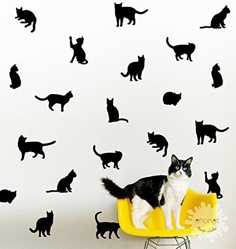 Cat Wall Decal / Kitty Wall Decal / 36 Cats Sticker / Kids Room Decal /